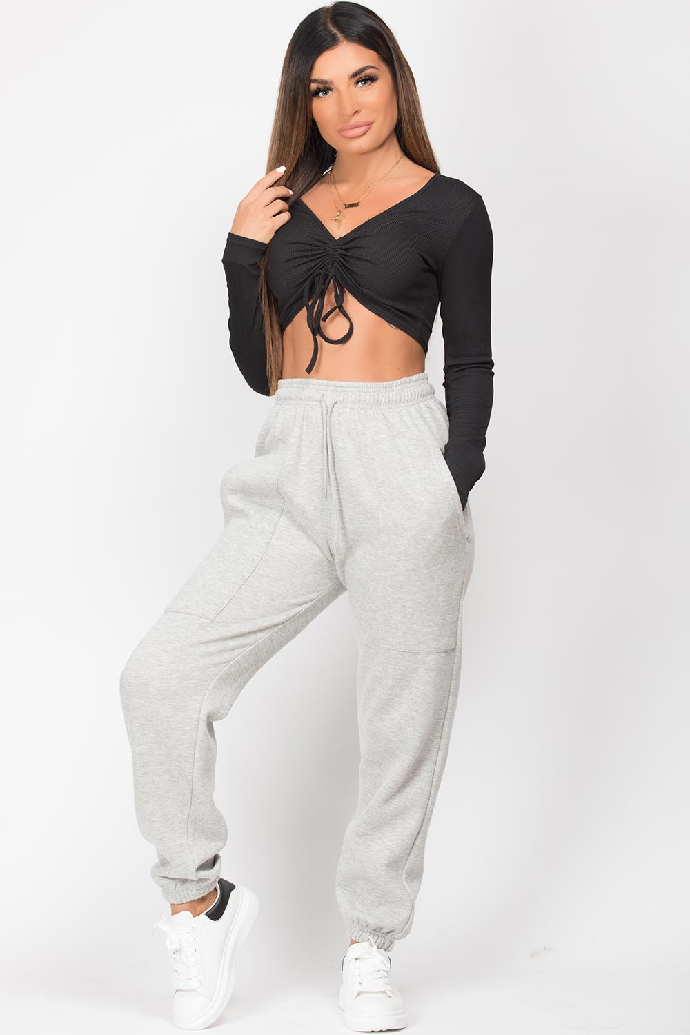 womens grey joggers with front pockets