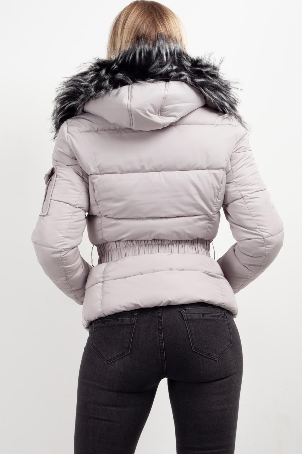 padded coat with fur hood grey