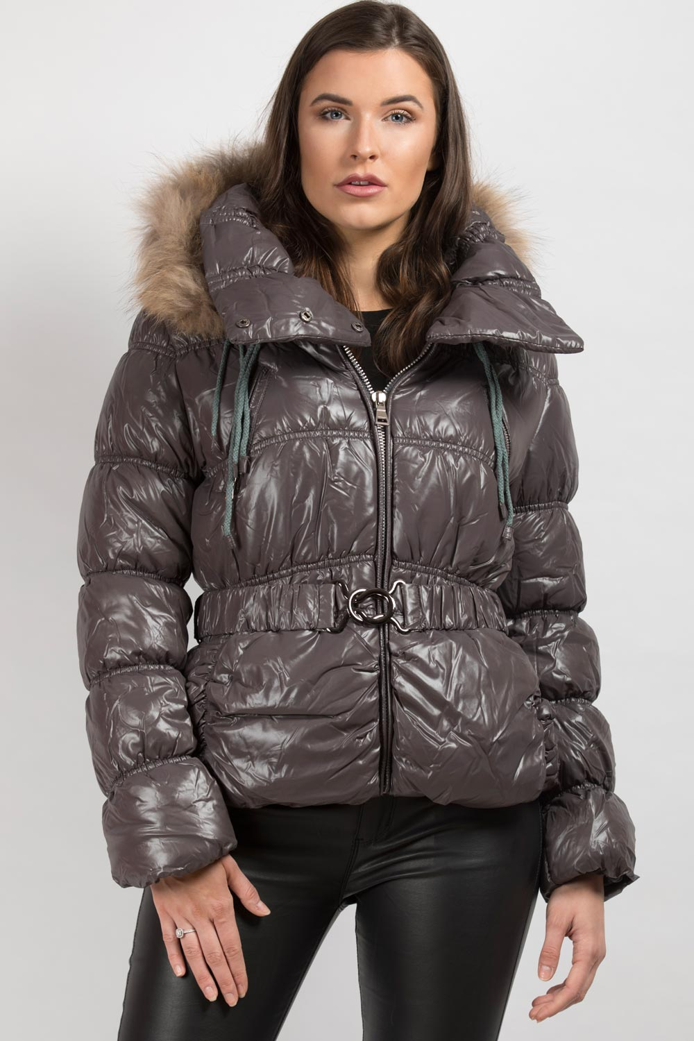 natural fur hooded puffer coat grey