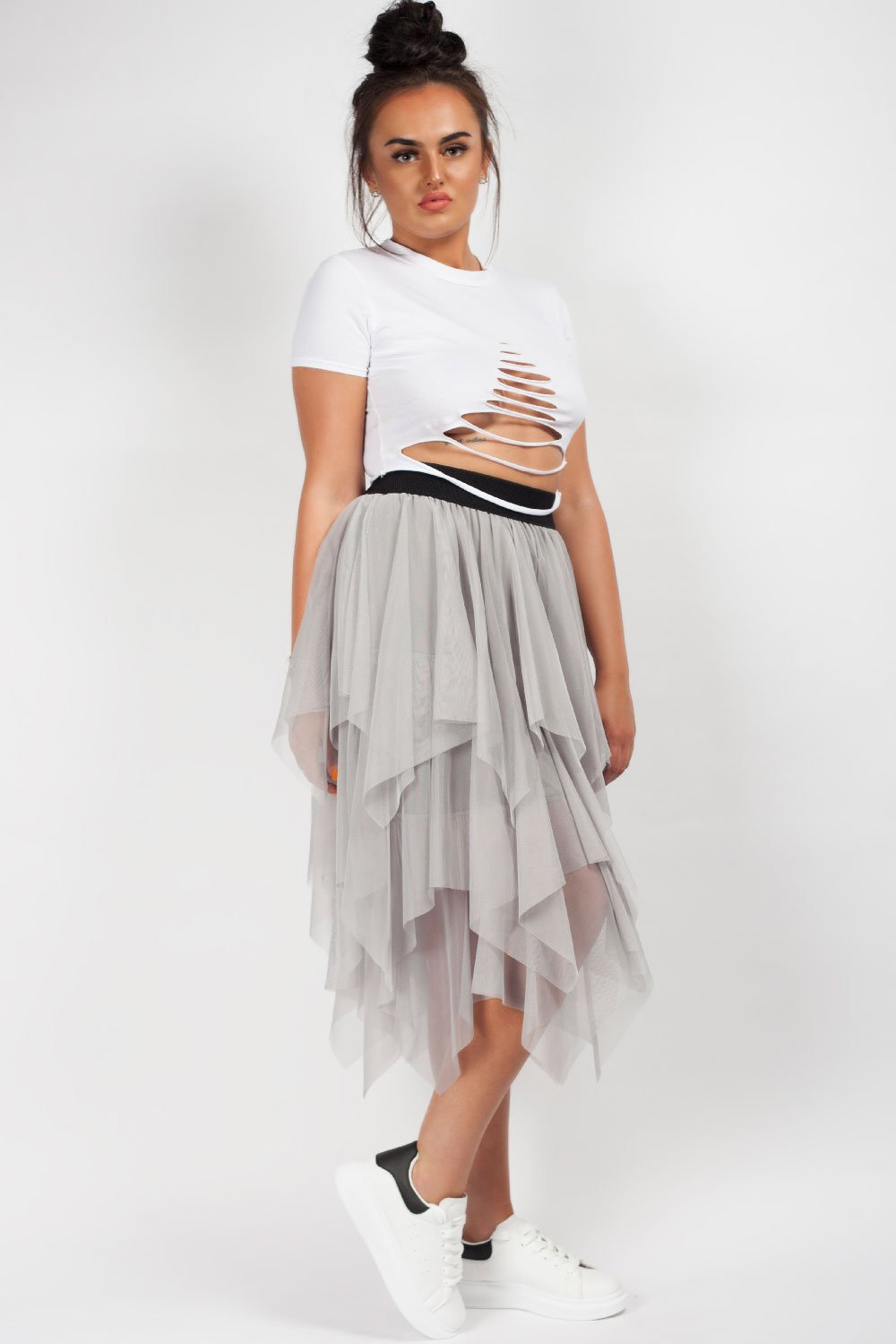 tulle midi skirt grey