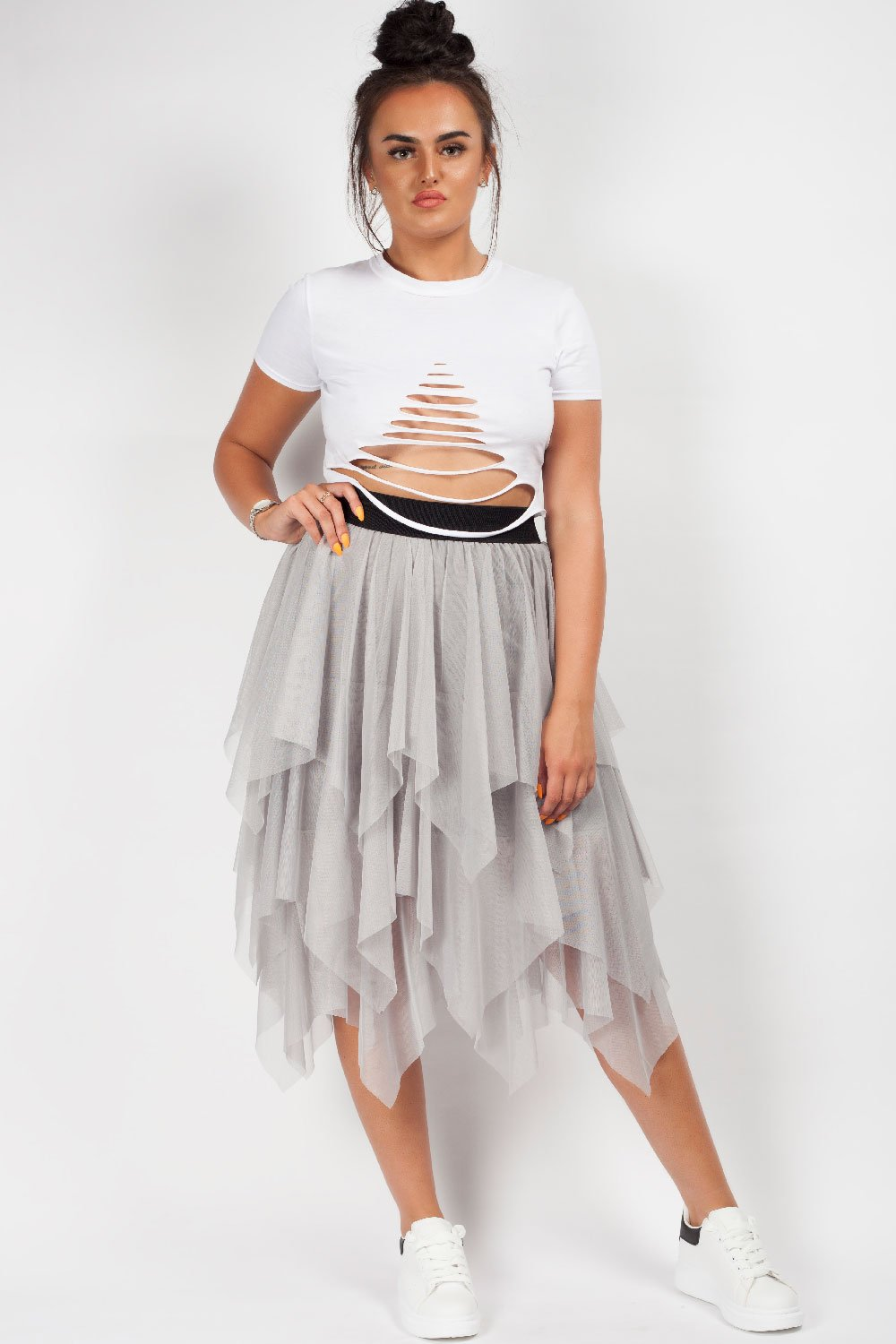 tutu midi skirt grey styledup fashion