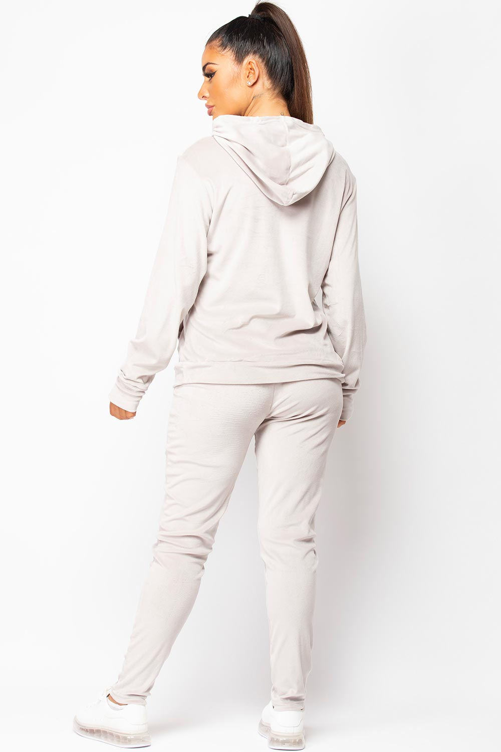 womens grey velour tracksuit set uk