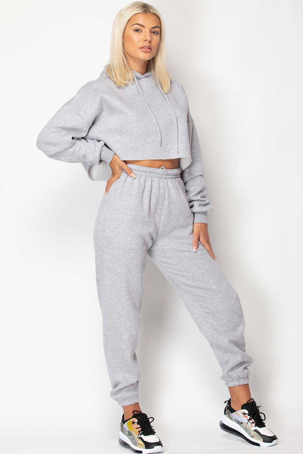 grey joggers and hoodie two piece lounge set