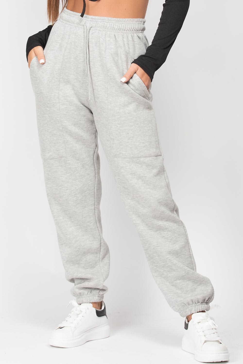 high waisted grey joggers womens
