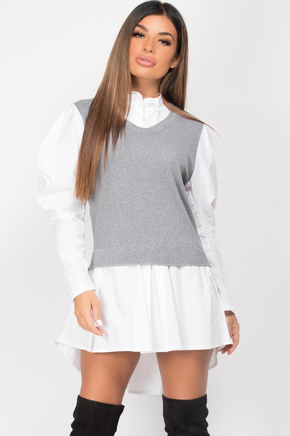 shirt jumper grey white