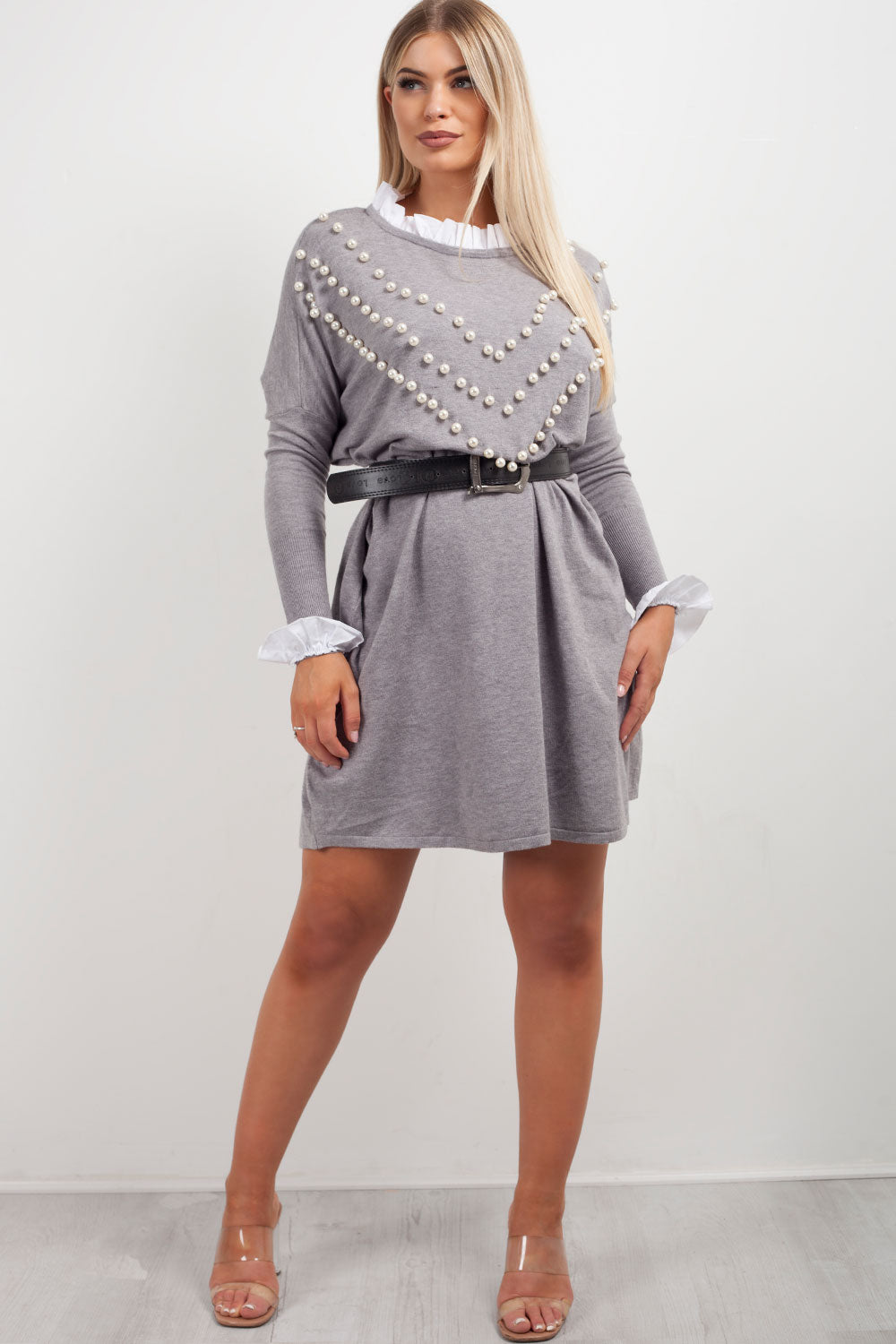 pearl detail grey jumper dress