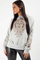 Kenzo Inspired Long Sleeve Sweatshirt Grey
