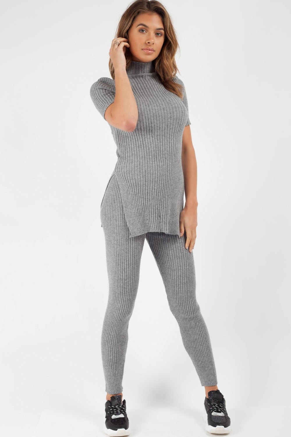 knitted ribbed petite loungewear set grey
