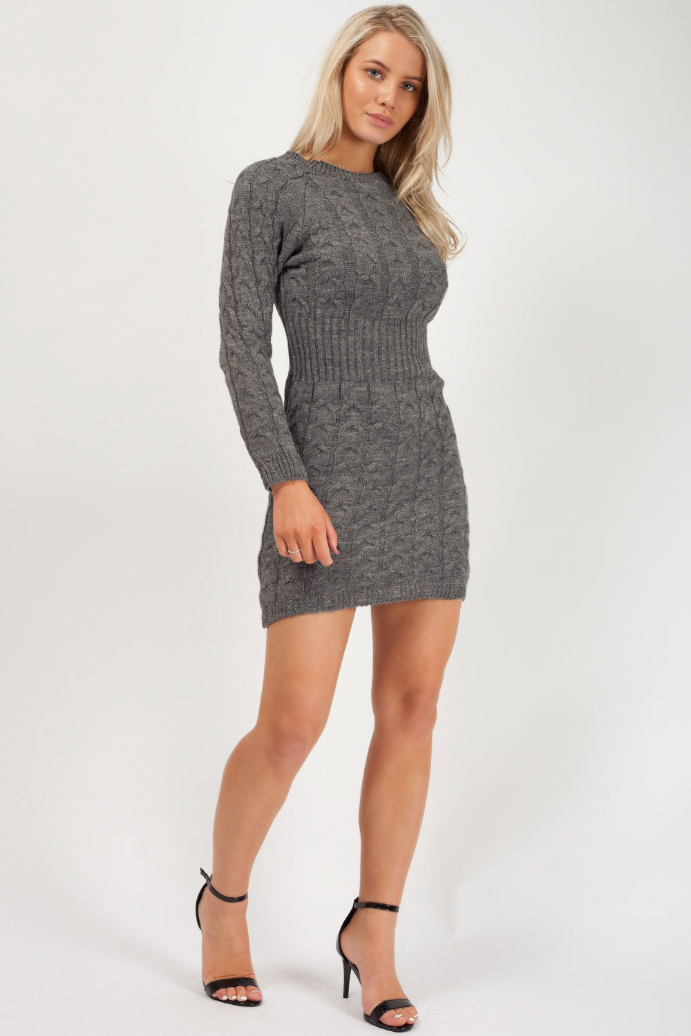 long sleeve knitted midi dress uk