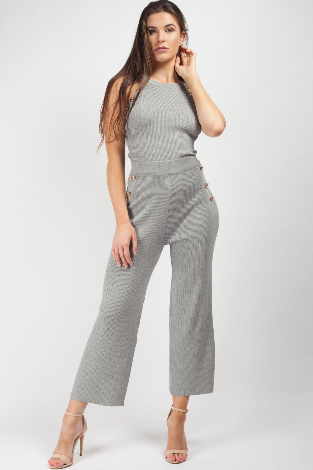 knitted loungewear set grey
