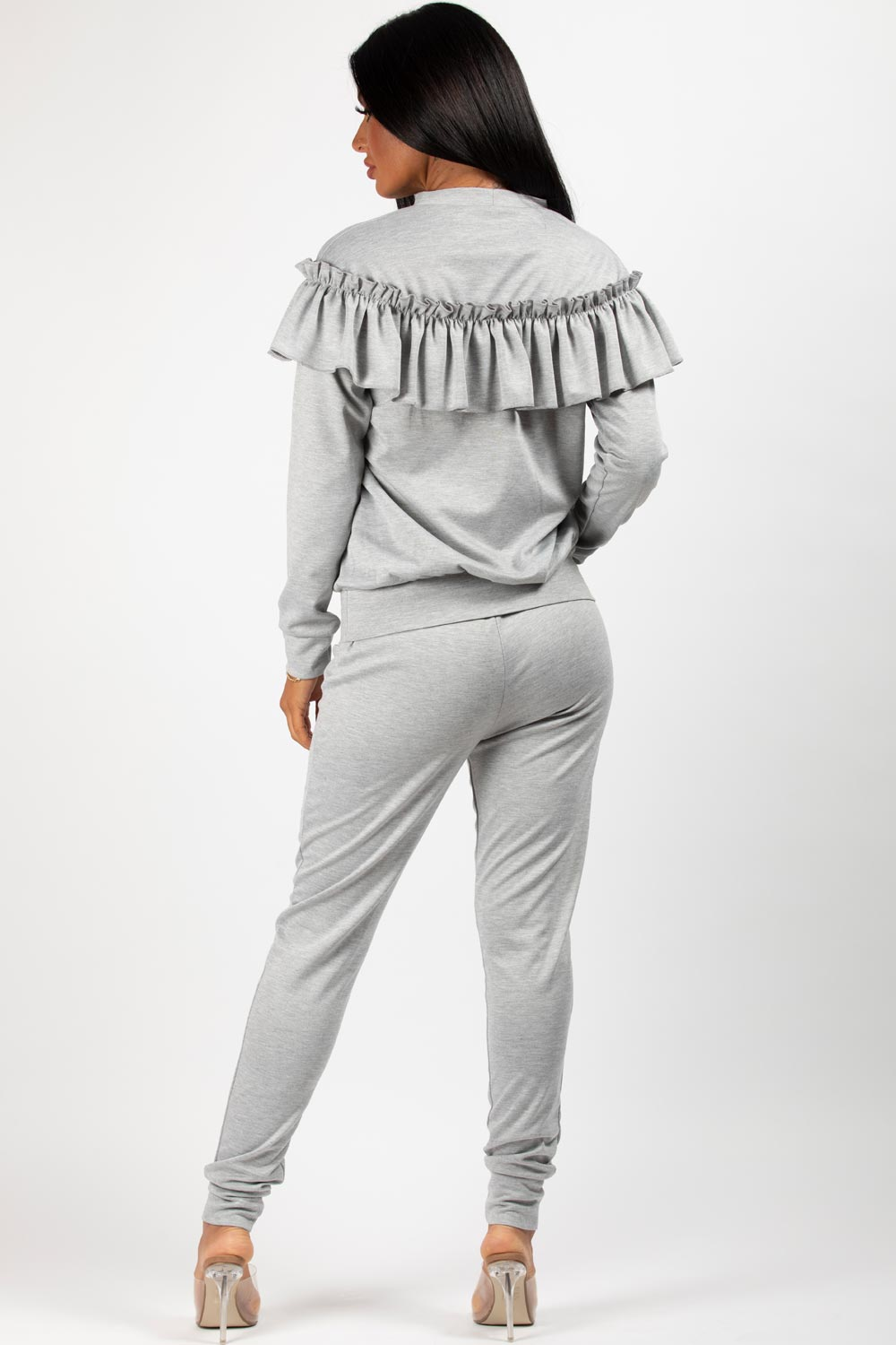 frill detail loungewear co ord set grey