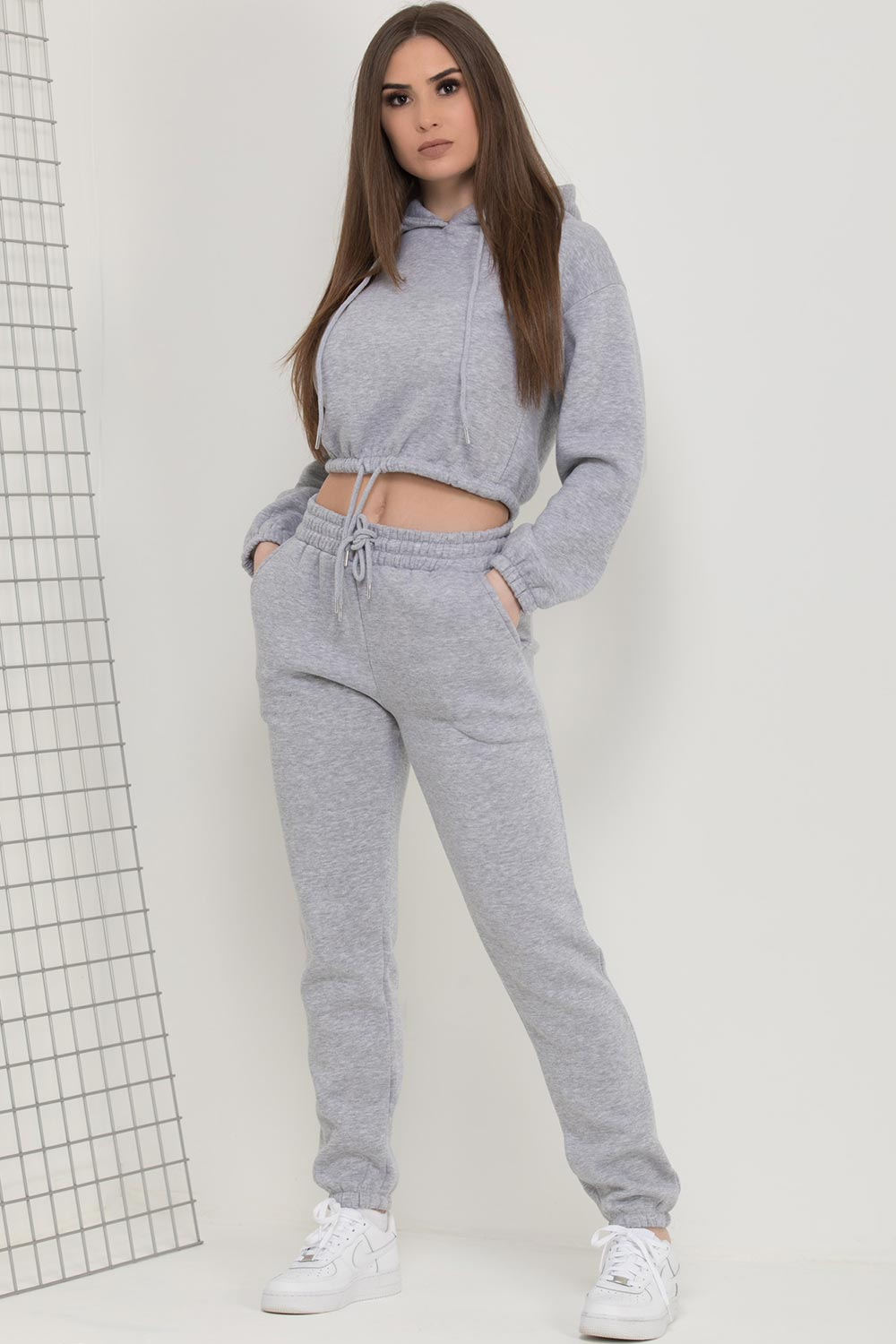 crop hoodie with drawstring hem and joggers lounge set grey