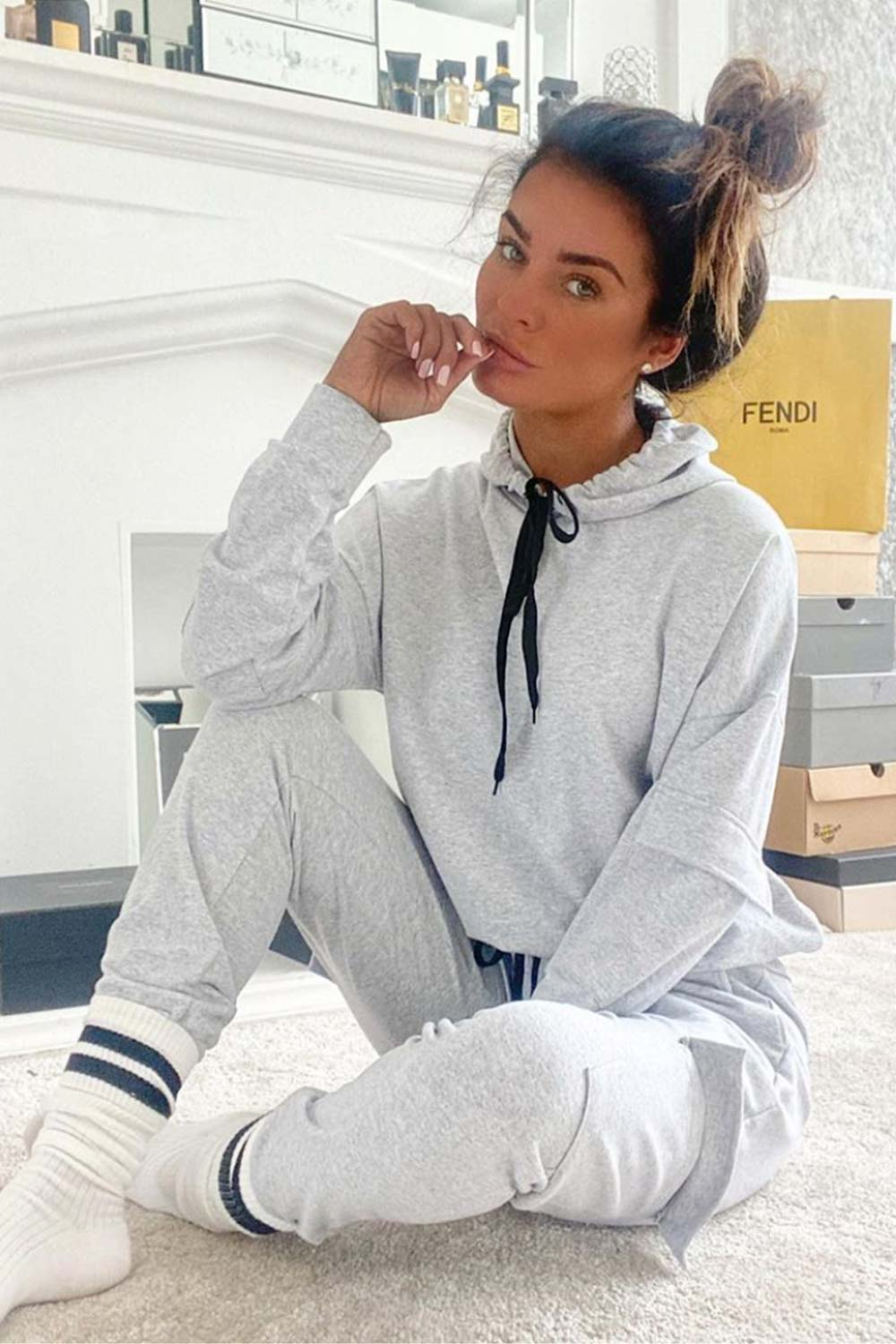 grey oversized hooded tracksuit set womens