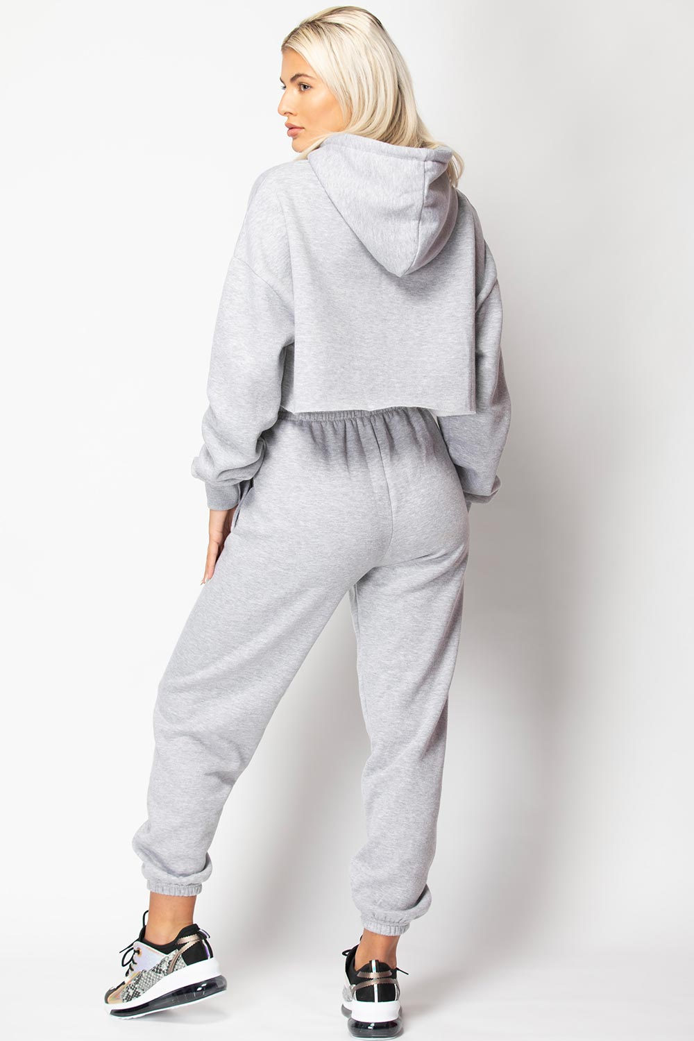 grey oversized joggers and hoodie tracksuit set