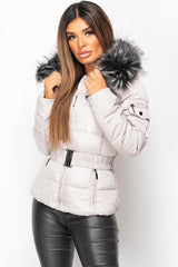grey puffer jacket with fur hood
