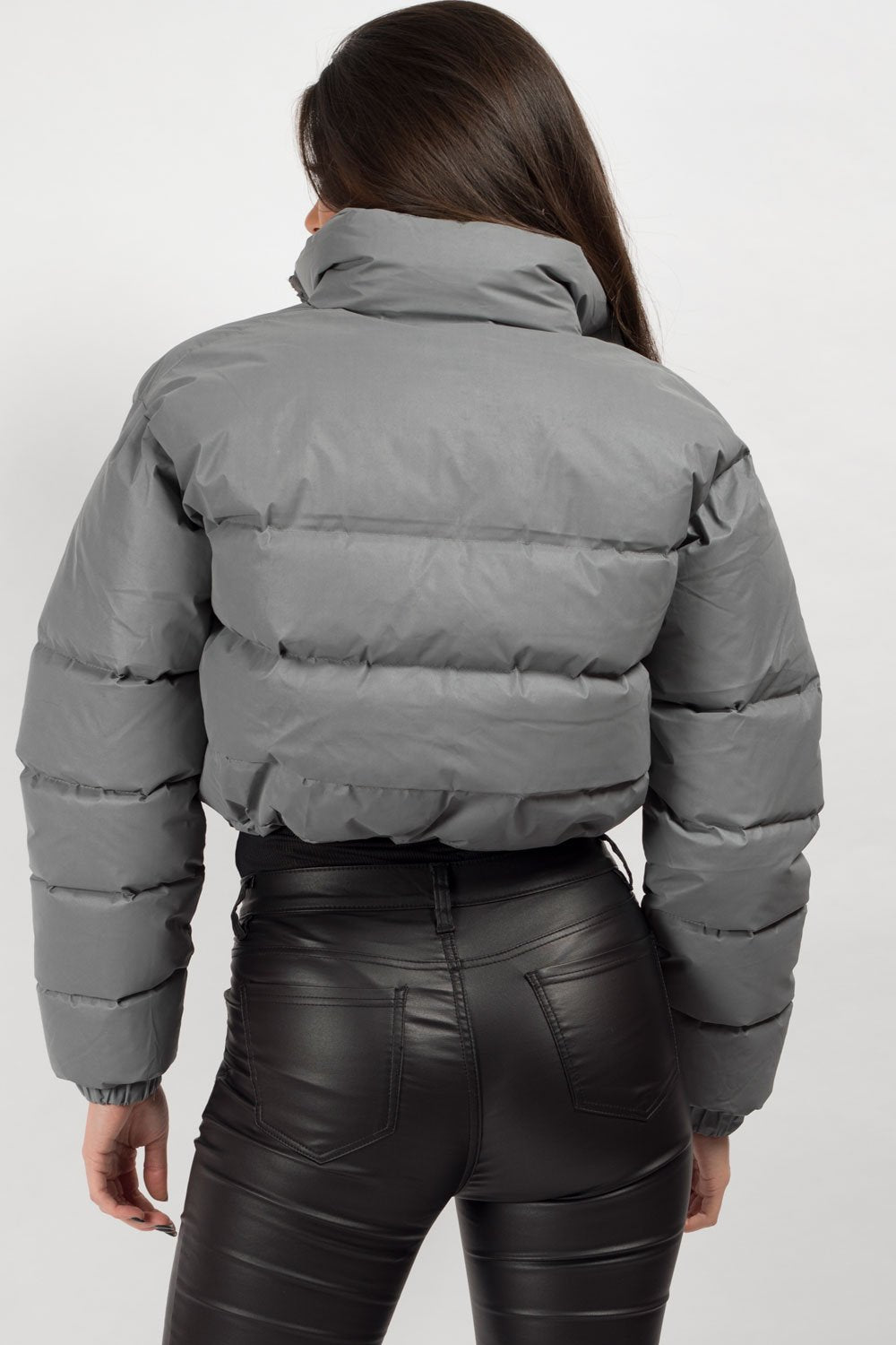 reflective puffer cropped jacket womens