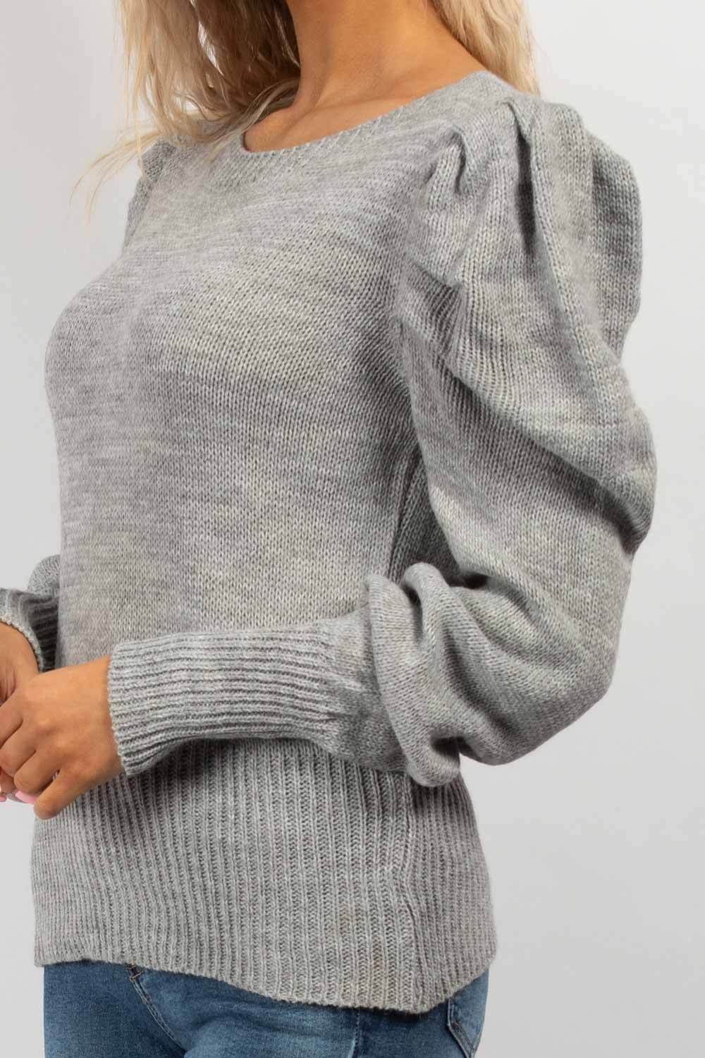 puff sleeve jumper grey