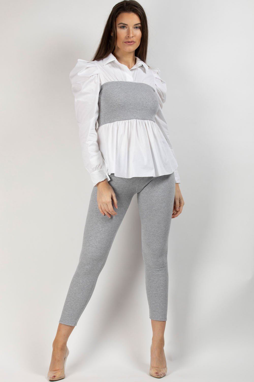 ribbed shirt top grey