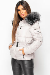 grey faux fur hood puffer coat womens