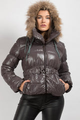 grey coat with fur hood uk