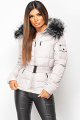 grey puffer coat womens