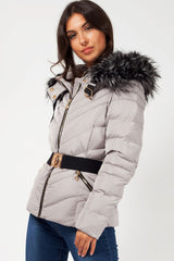 grey puffer coat with faux fur hood