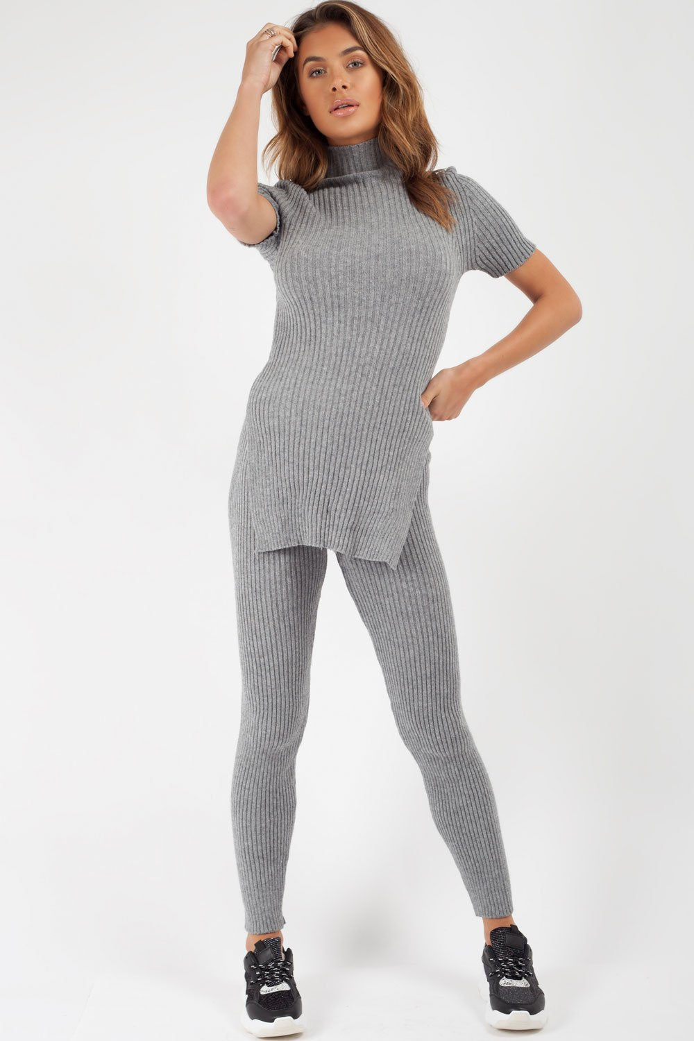 grey ribbed loungewear two piece set