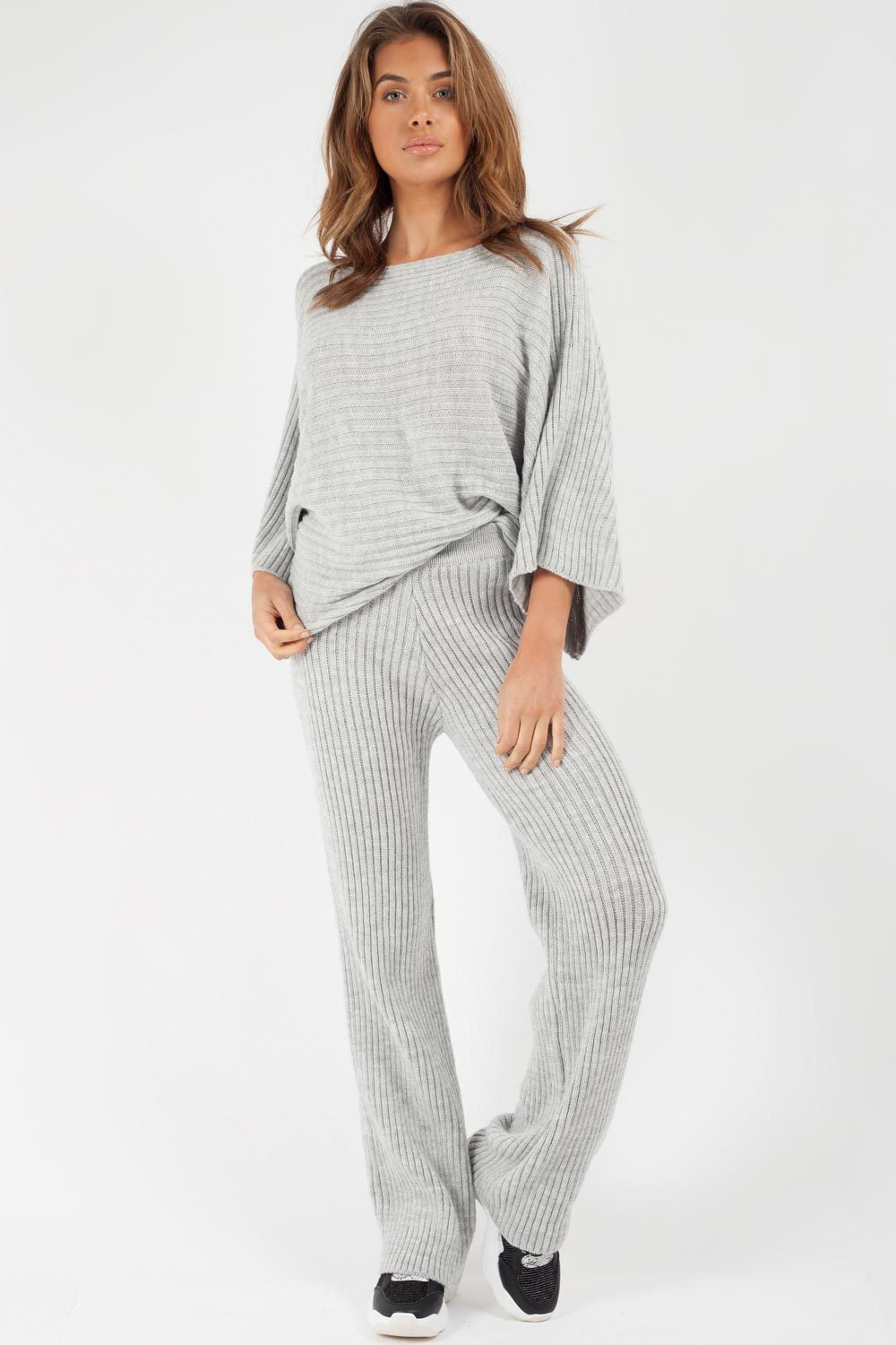 grey ribbed knit co ord set