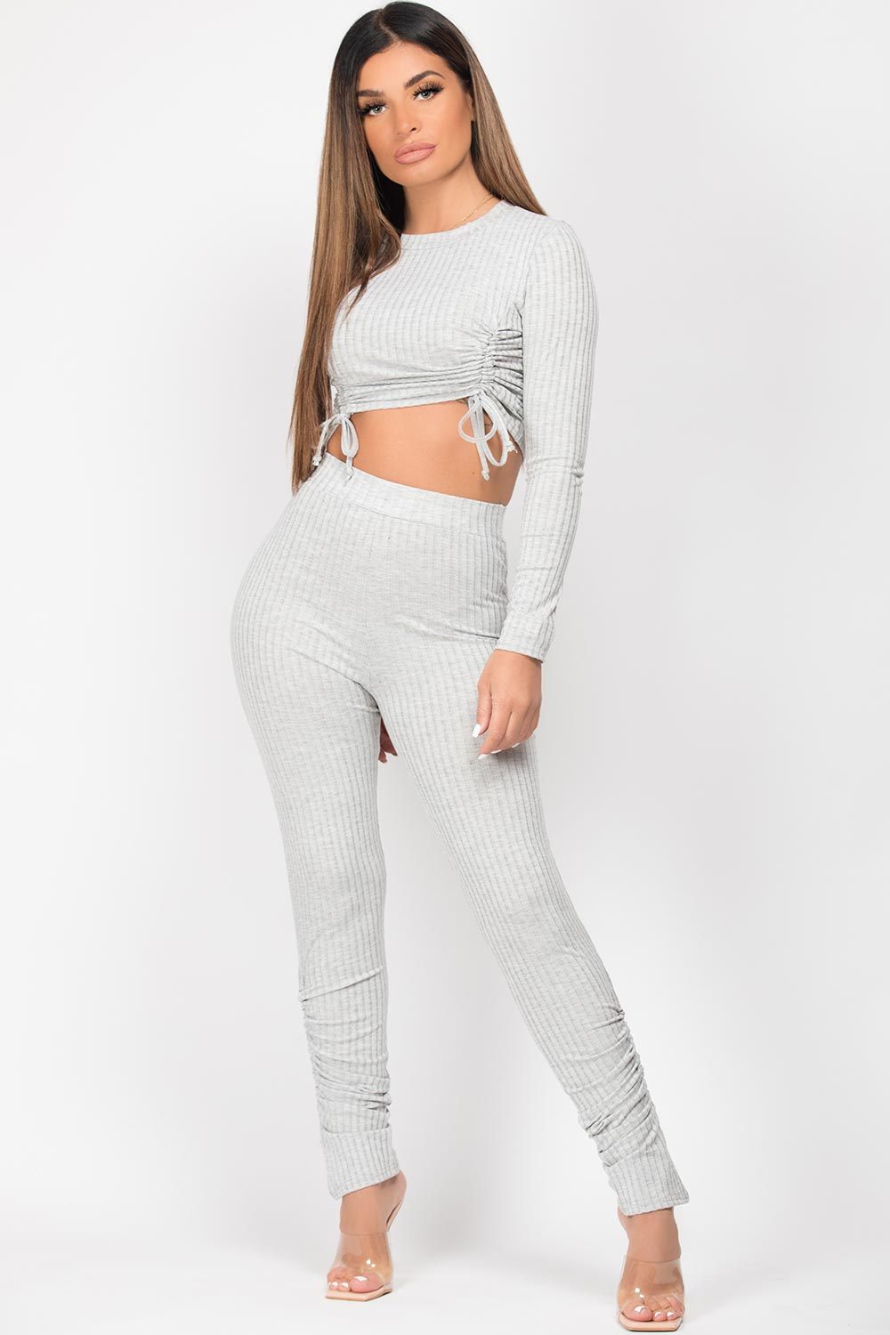 ruched ribbed top and trousers set grey