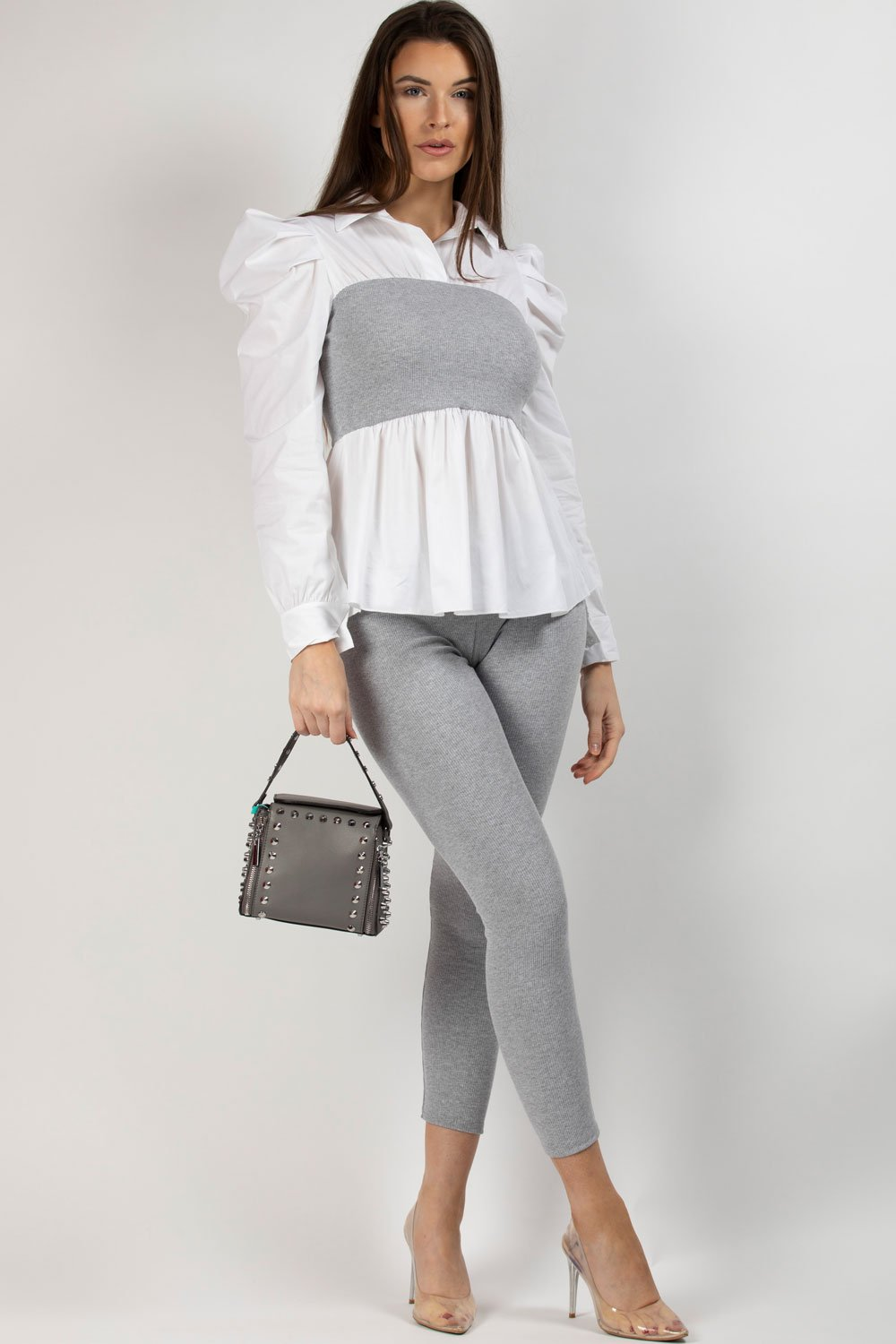 grey ribbed shirt top