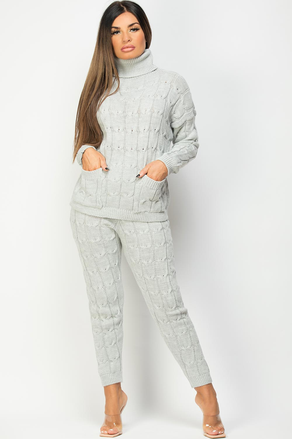 grey roll neck jumper and knitted leggings lounge set