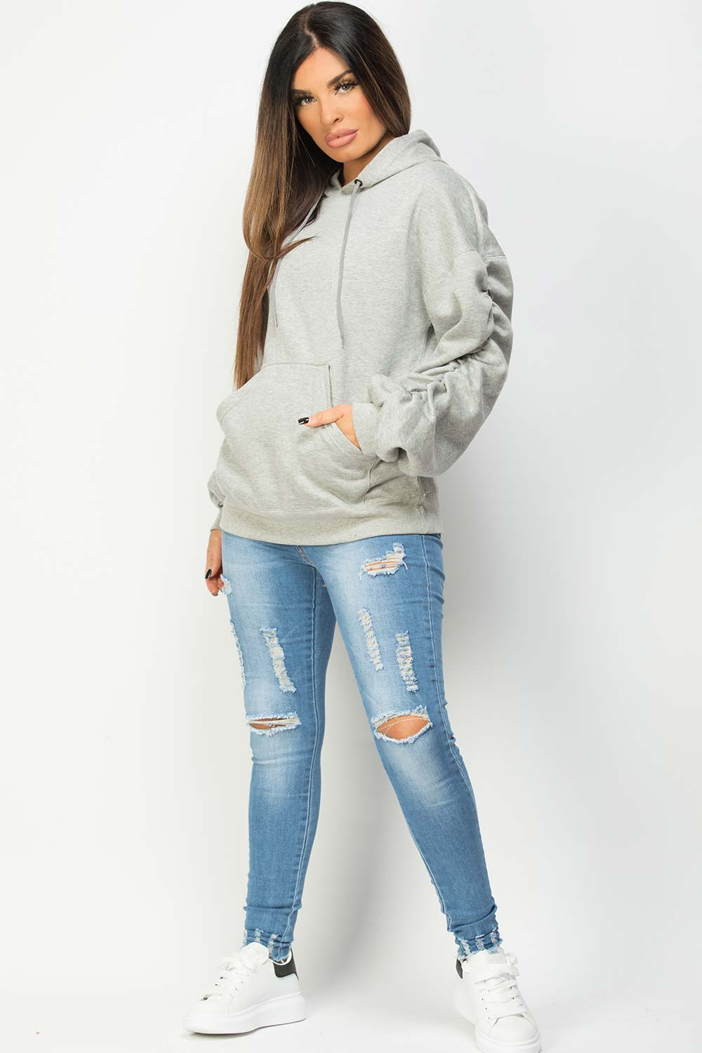 grey ruched balloon sleeve hoodie womens