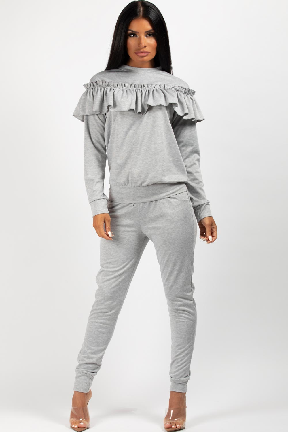 grey frill detail loungewear two piece set