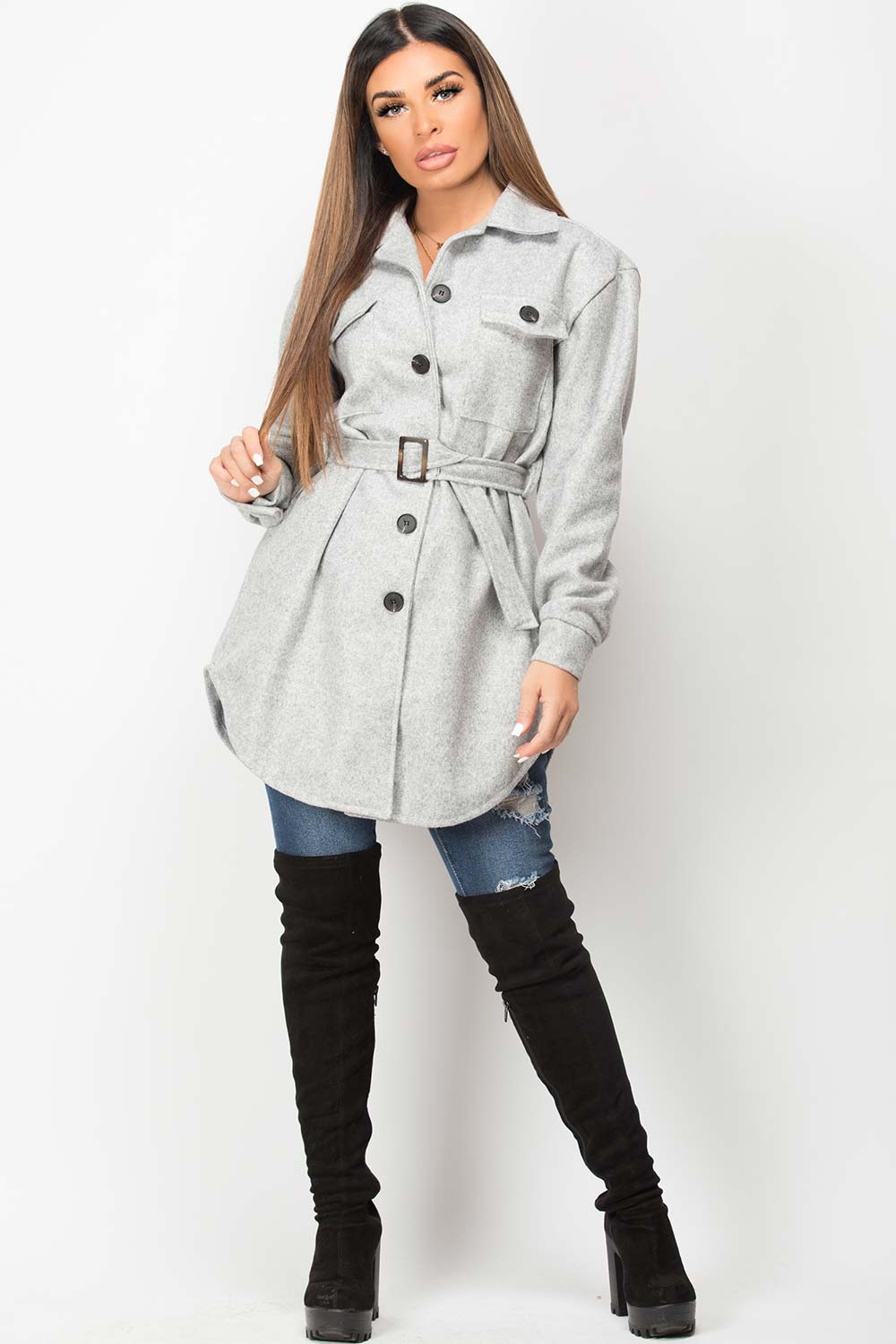 grey shacket with belt womens