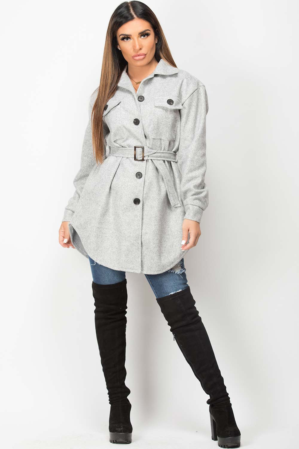 grey belted shacket with utility pockets