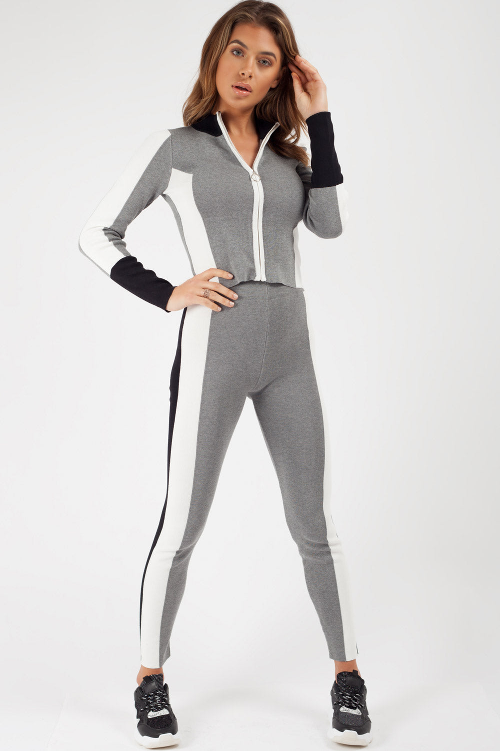 grey zip front tracksuit gym wear womens