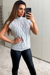 grey chunky knit jumper womens