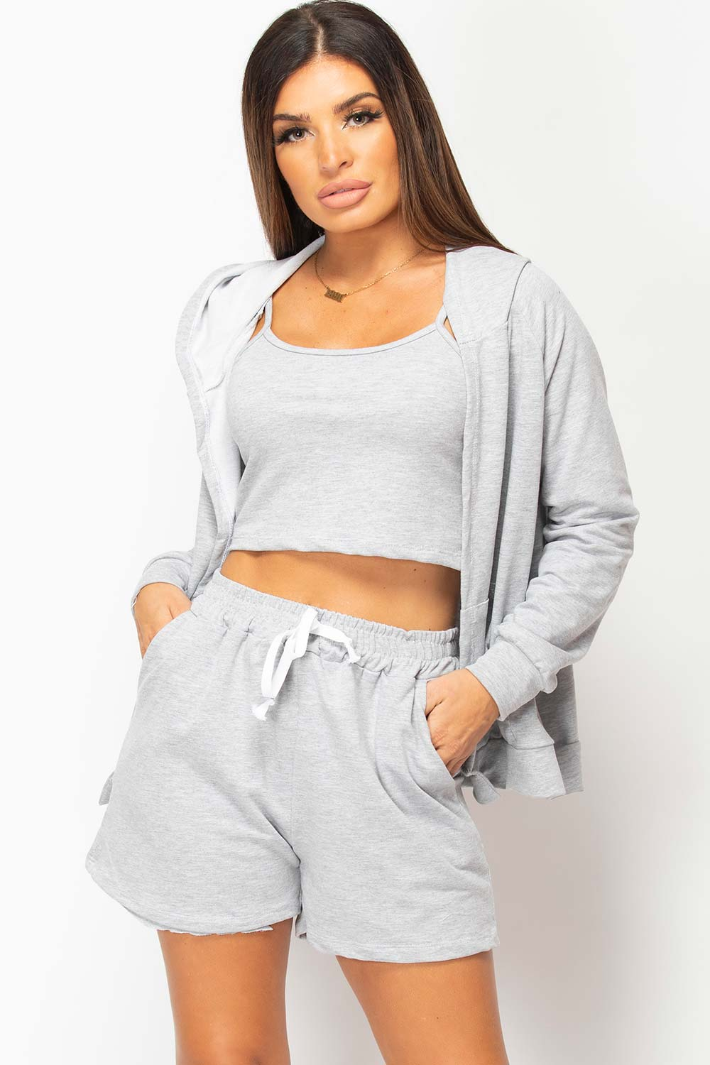 grey three piece lounge set womens uk