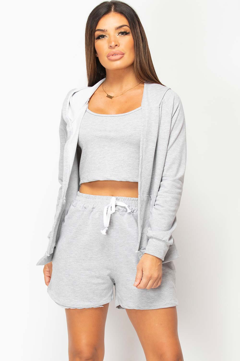 three piece grey loungewear set