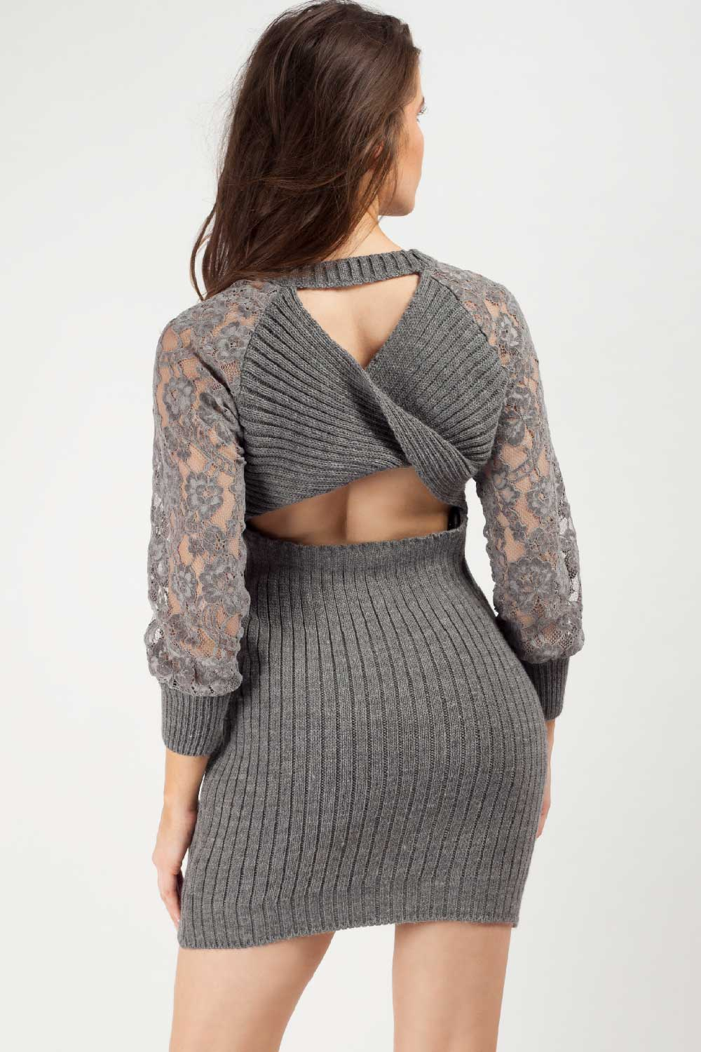 twisted knitted jumper dress grey
