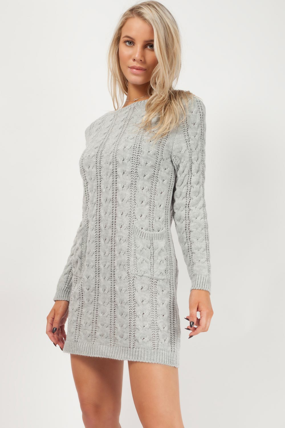 grey casual dress with sleeves knitted