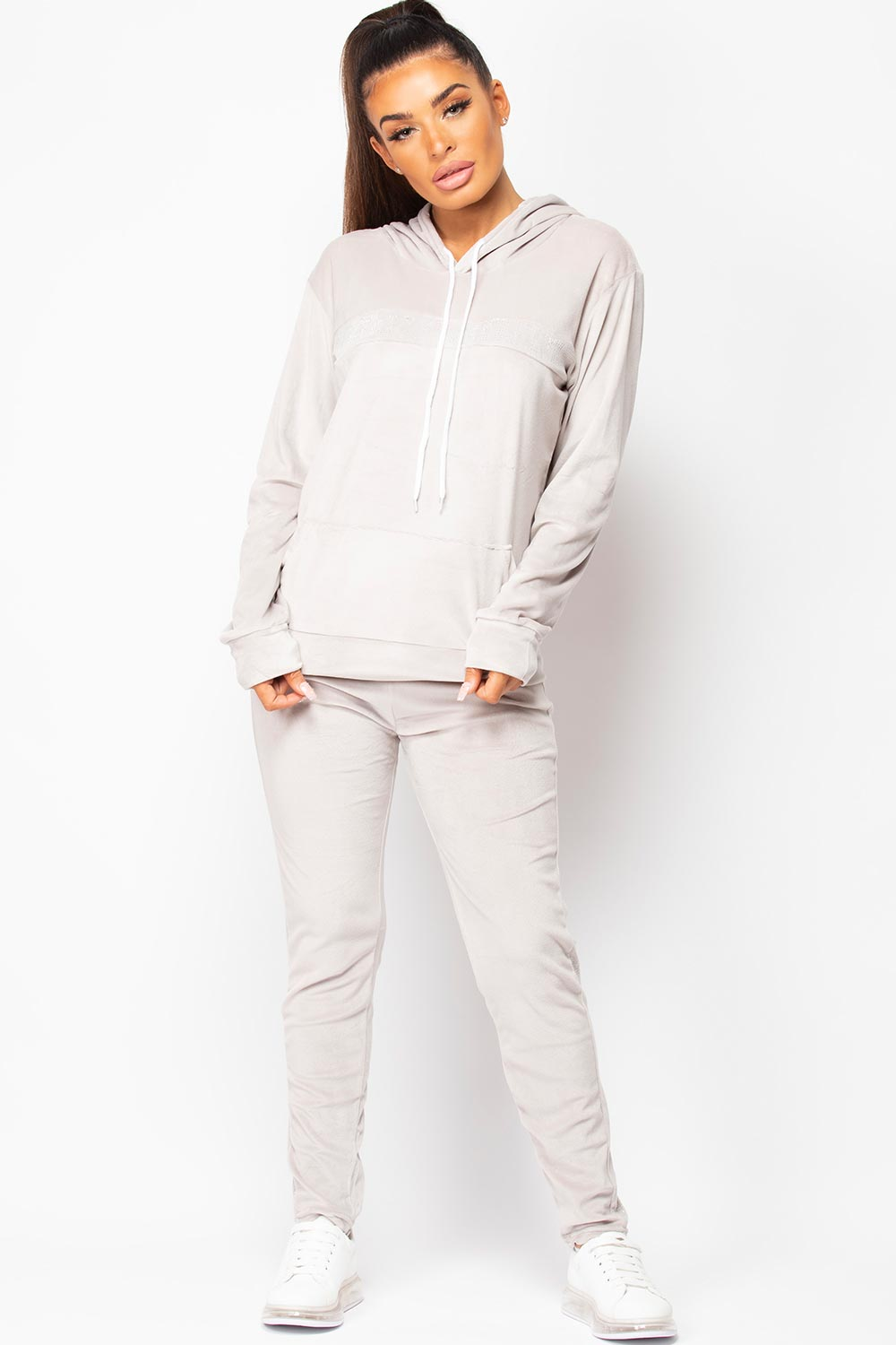 velour loungewear set grey womens