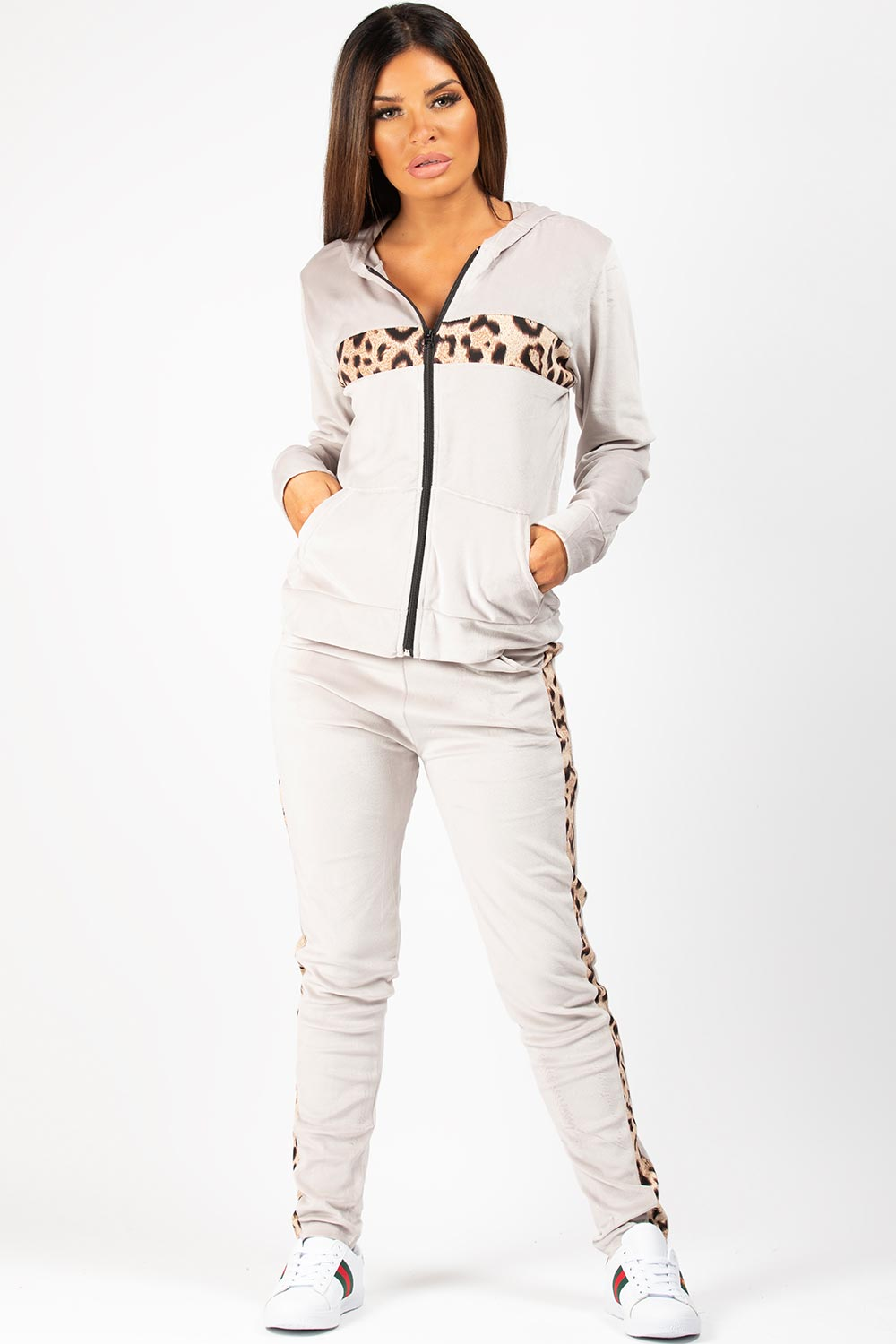 grey velour tracksuit