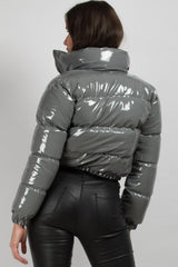 grey shiny puffer jacket cropped