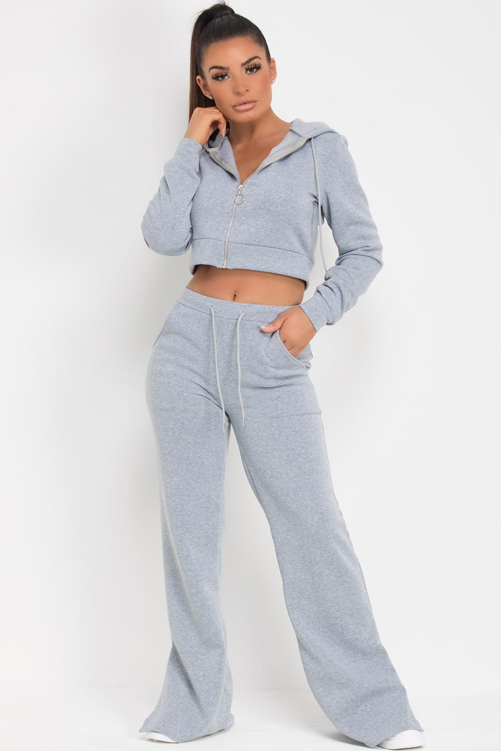 wide leg joggers and hoodie set grey