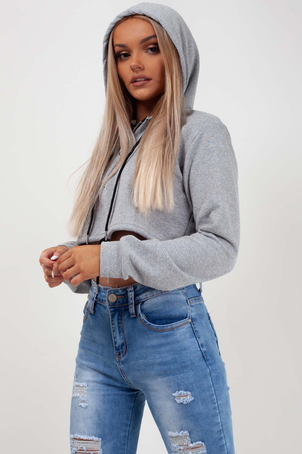 grey cropped hoodie womens styledup fashion