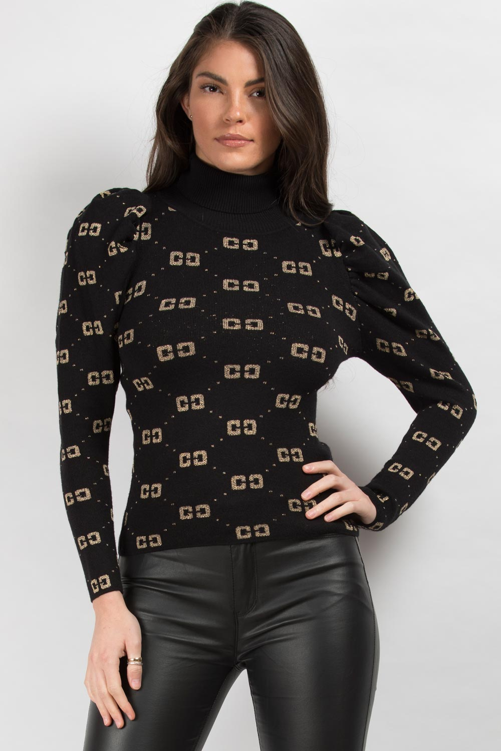 high neck jumper black