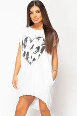heart print oversized t shirt womens