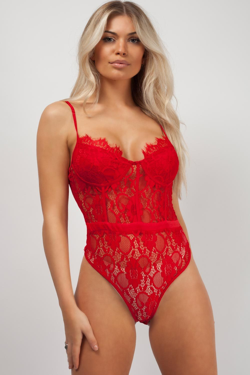high leg lace bodysuit red