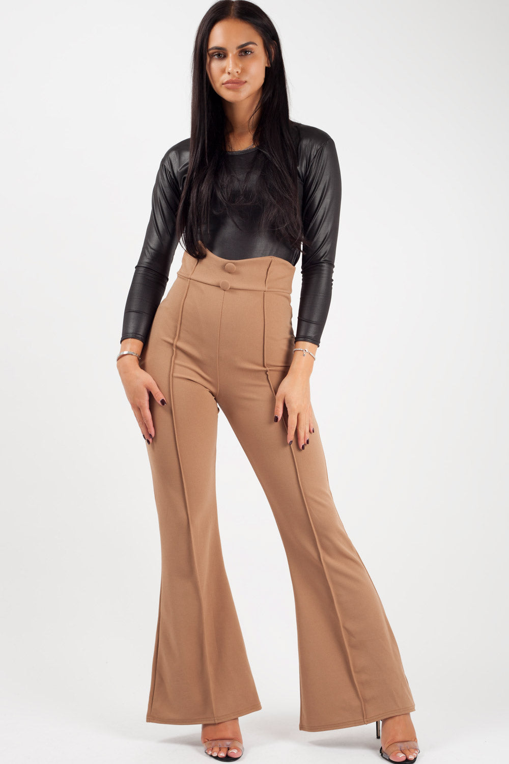 high waist wide leg trousers with button detail camel
